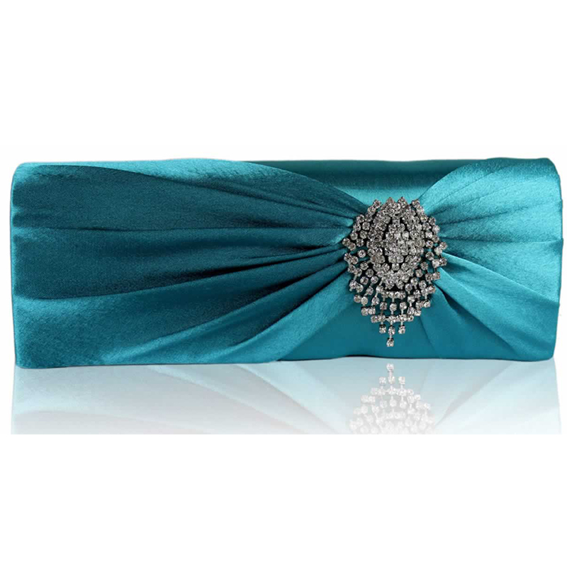 Turquoise Ruched Satin Clutch