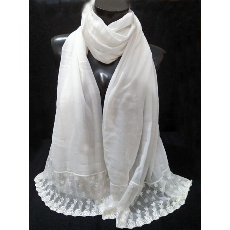 White Chiffon Dupatta With Floral Lace On Bottoms