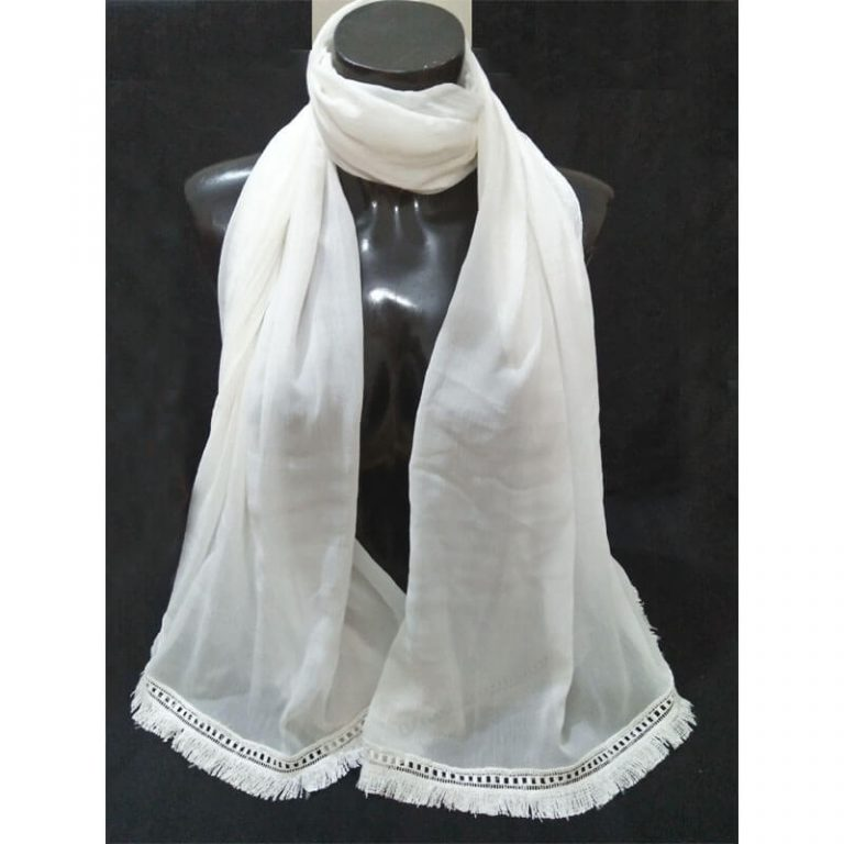 White Chiffon Dupatta With Tassel Lace On Bottoms