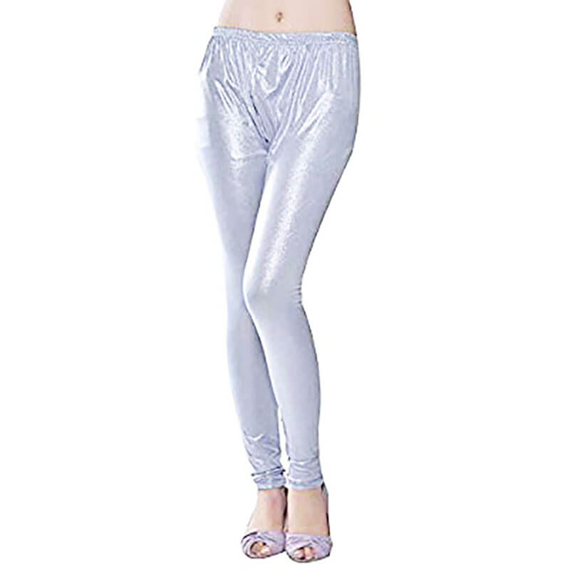 Silver Stretchable Leggings Lycra Tights