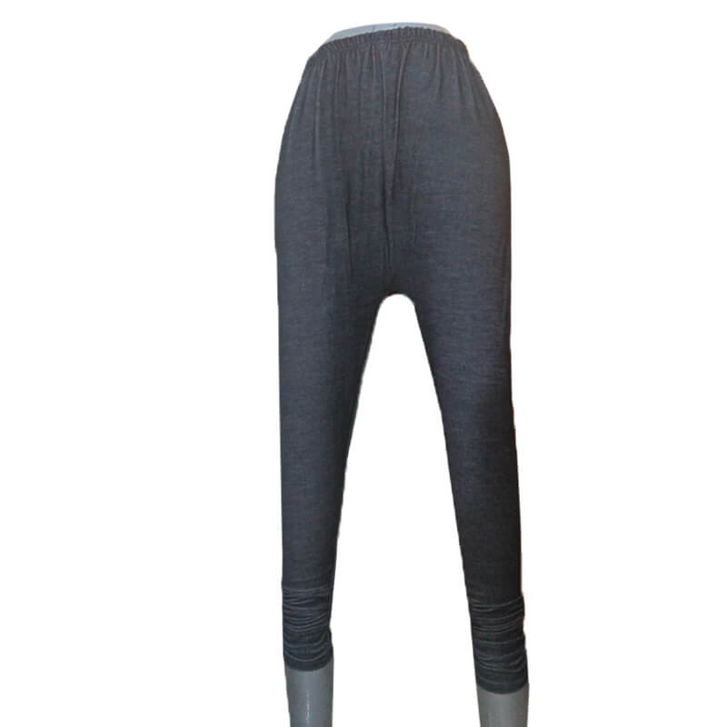 Black Denim Stretchable Leggings with Buttons