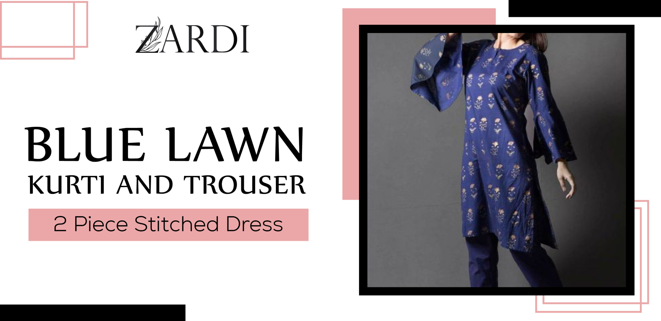 Blue Lawn Kurti And Trouser 2 Pieces Stitched Dress