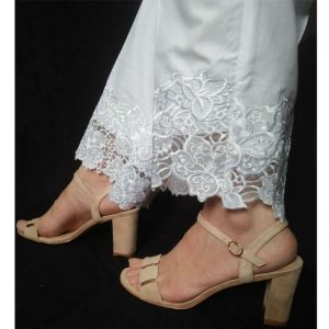 Embroided White Trouser