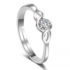 Silver Adjustable Glowing Ring With Diamante