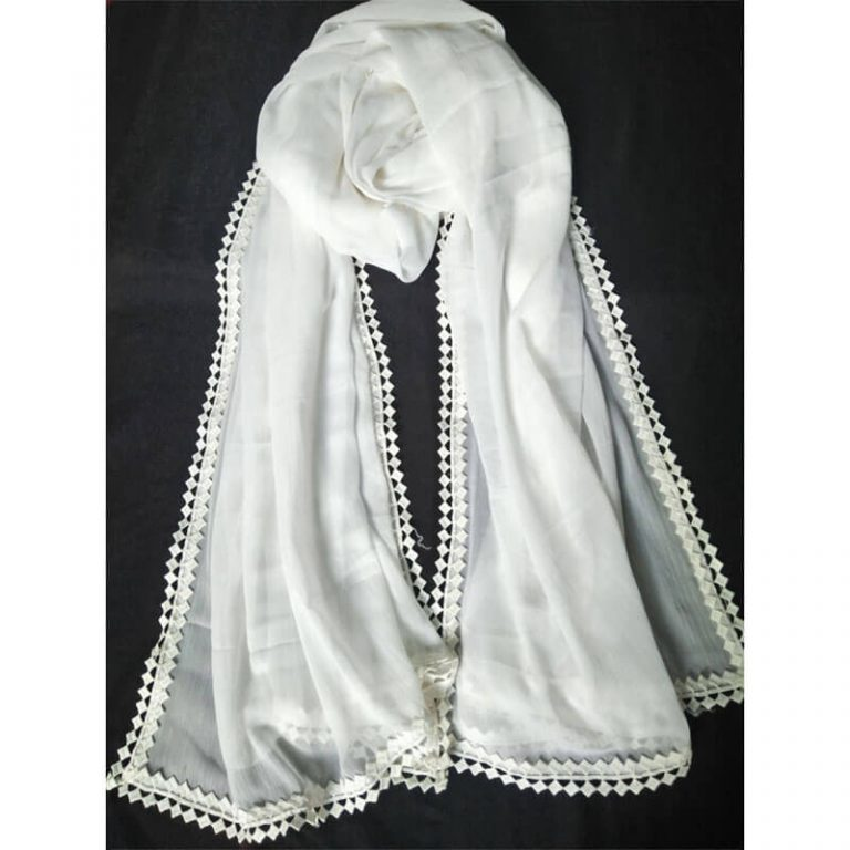 White Chiffon Dupatta With Lace On All 4 Side