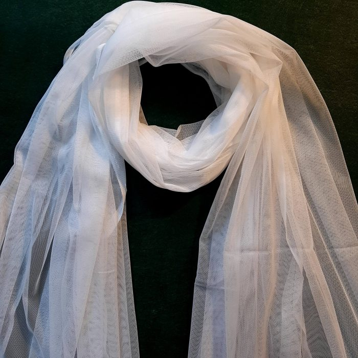 Net White Large Dupatta Soft With Piko On all 4 Sides