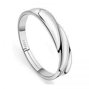 2 PC Sterling Silver Adjustable Zircon Rings