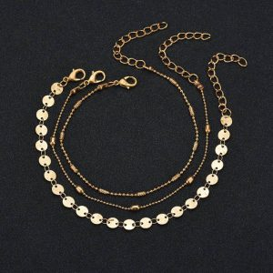 3 Pieces Gold Fashion Adjustable Anklet Set