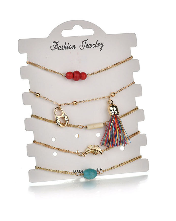5 Pieces Gold Bracelets In Different Designs