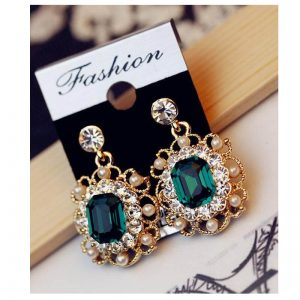 Pearl Gold Drop Earring With Glowing Diamantes