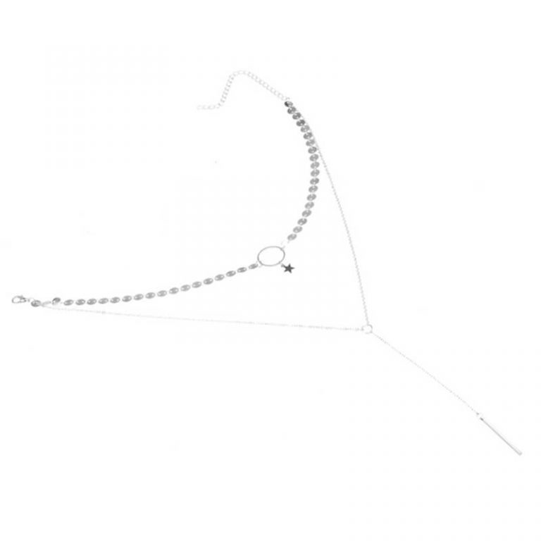 Silver 2 Chain Star Tassel Necklace