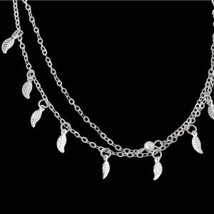 Silver Double Chain Leaves Anklet Adjustable