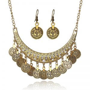 Gold Coin Necklace and Earring Set