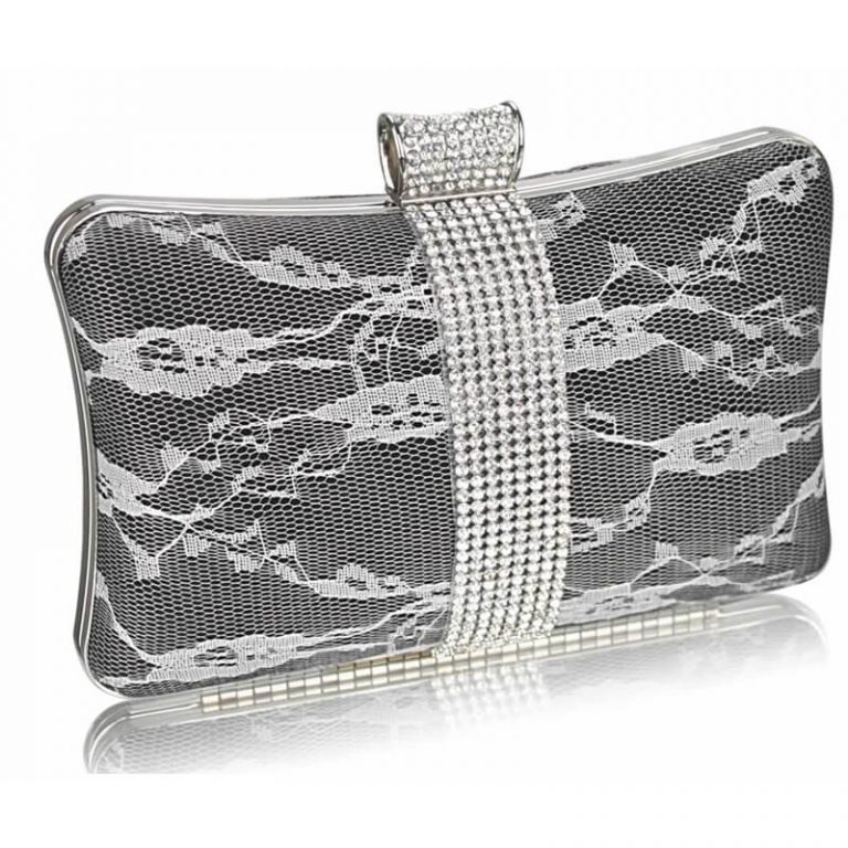 Black Crystal Strip Clutch Evening Bag