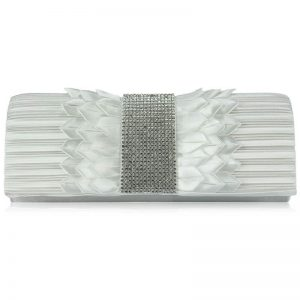 Ivory Ruched Satin Clutch With Crystal Trim