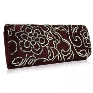 Red Clutch Bag With Diamante Decorative Flower
