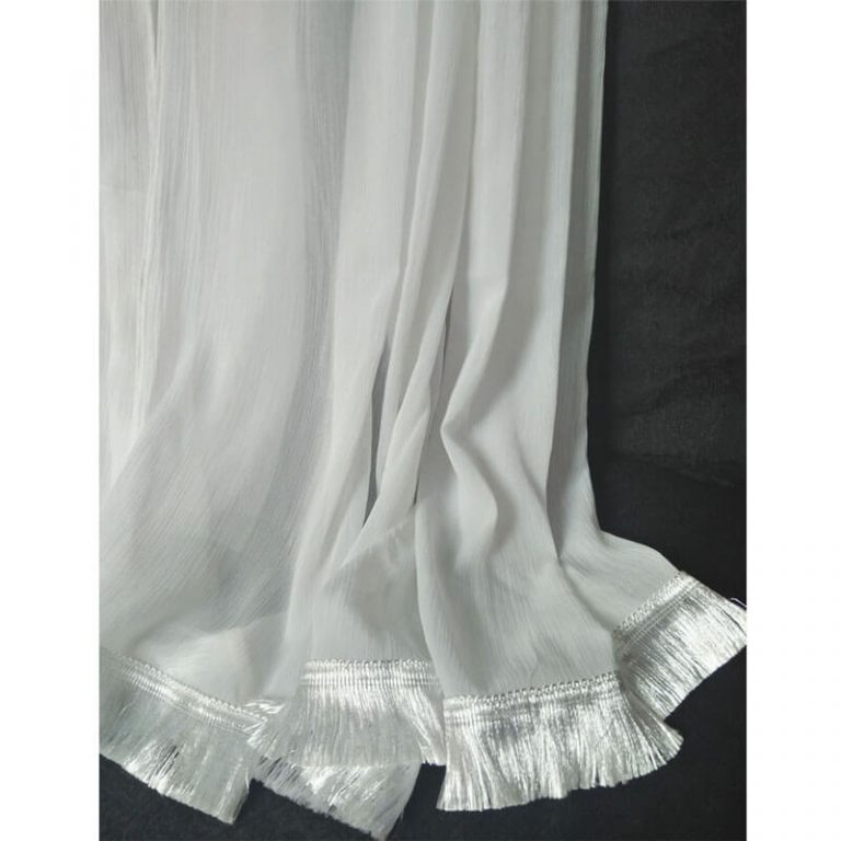 White Chiffon Dupatta With Fancy Lace On Bottoms