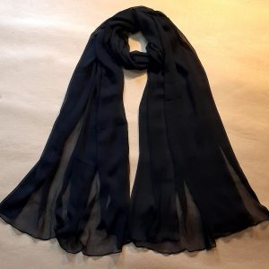 Black Chiffon Dupatta Large Soft - Length 2.5 Yards