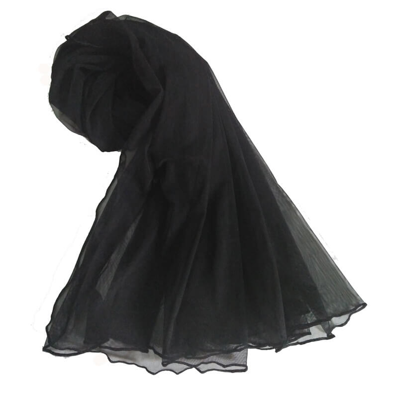 Black Net Dupatta With Four Sided Piko