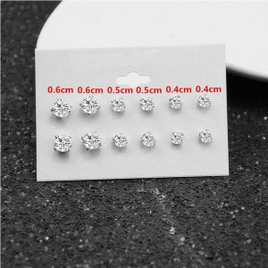 6 Pair Stud Earring Set - Silver AS34