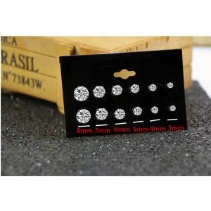 6 Pair Stud Earring Set - Silver AS35