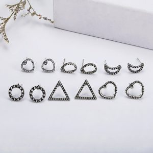 6 Pair Stud Earring Set Various Shapes - Silver AS36