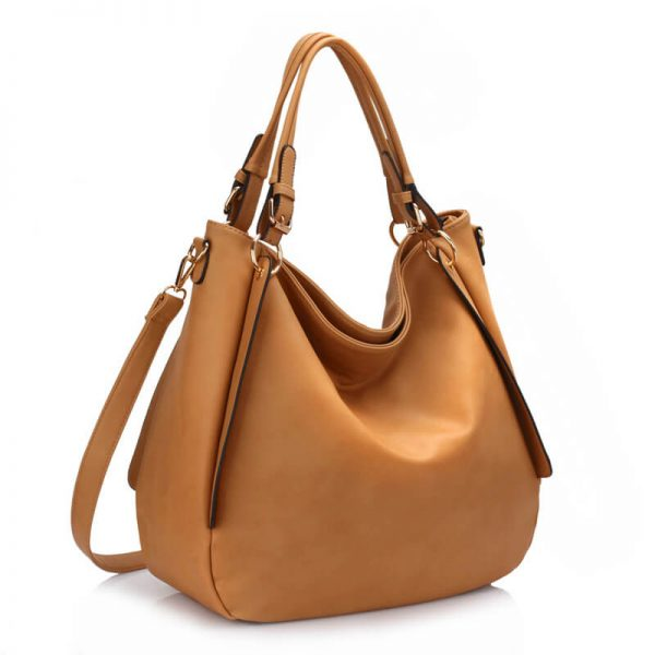 Large Hobo Shoulder Bag - Nude