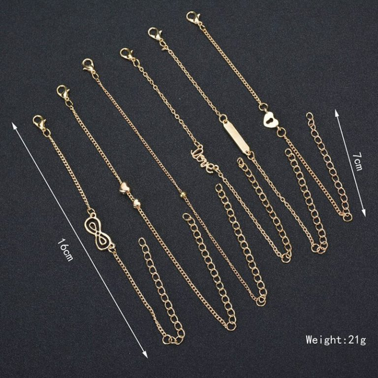 ANK21 - 6 Pieces - Anklet Set - Gold 1
