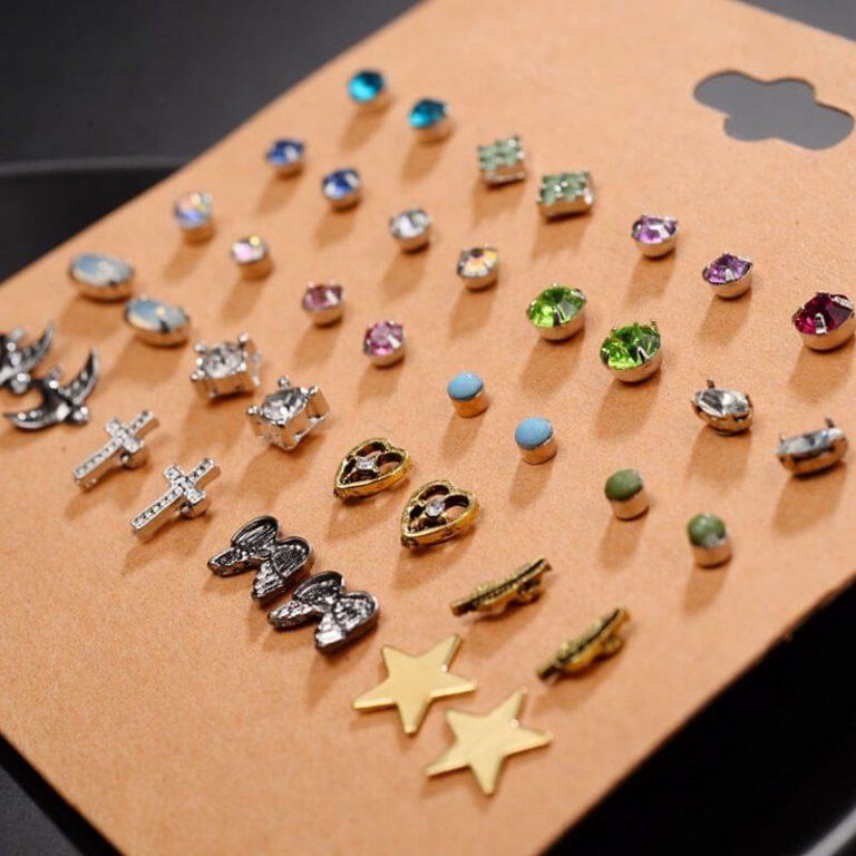 AS30 - 20 Pair Stud Earrings Set For Women