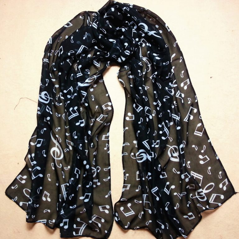 ASC35 Musical Note Printed Chiffon Scarf - Black