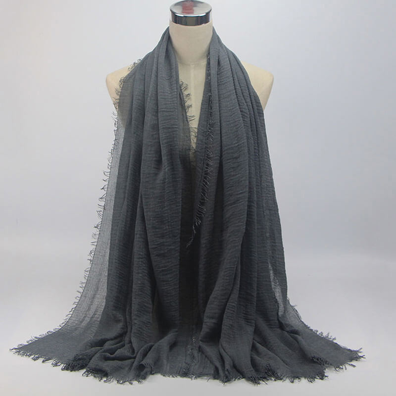 ASC40 Grey Soft Scarf Large Summer Cotton Stole