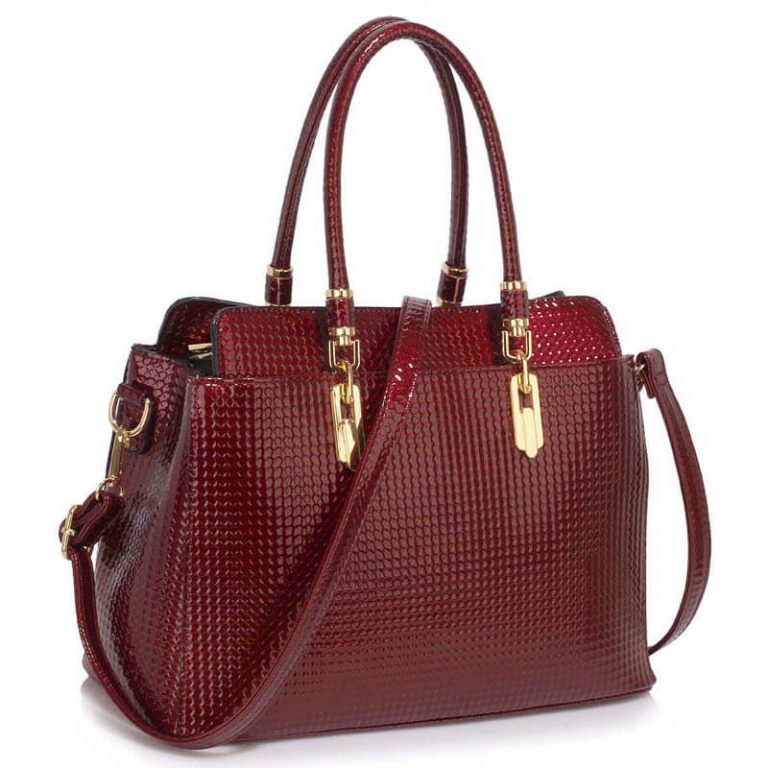 Burgundy Womens Tote Bag With Polished Hardware