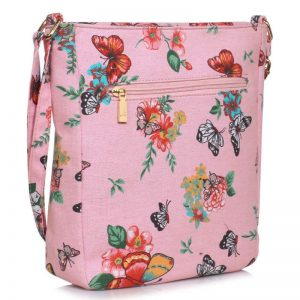 Pink Butterfly Canvas Cross Body Bag