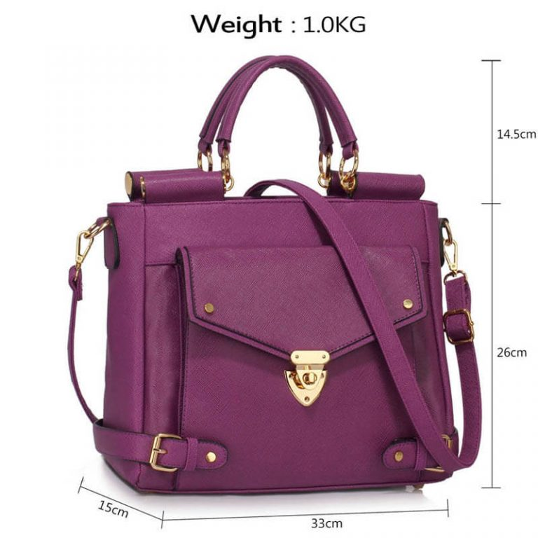 Purple Twist Lock Flap Grab Tote