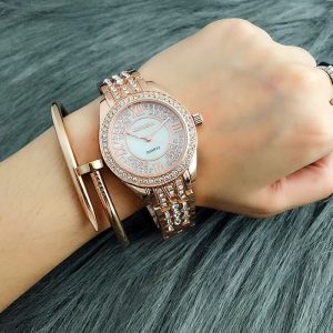AW02 Rose Gold Diamantes Luxury Stainless Steel Watch For Ladies