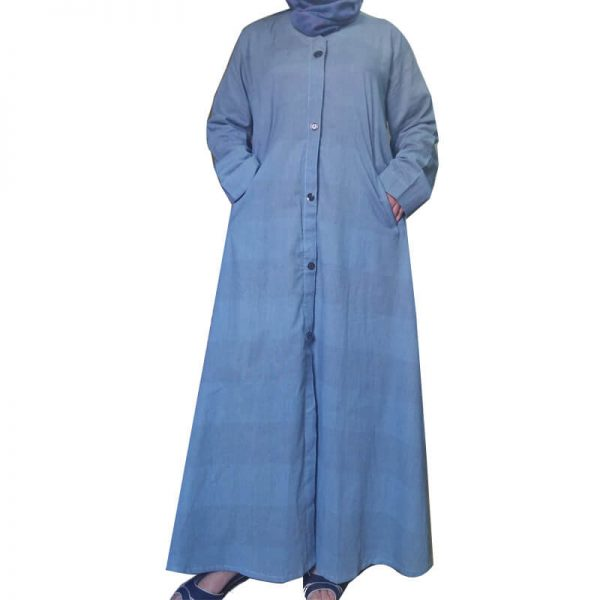 Lightweight Blue Soft Abaya With 2 Front Pockets