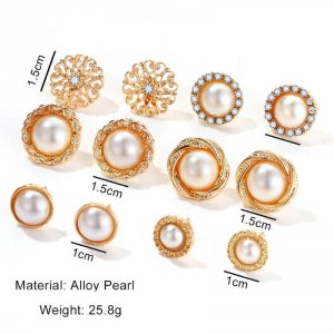 6 Pair Gold earring Set