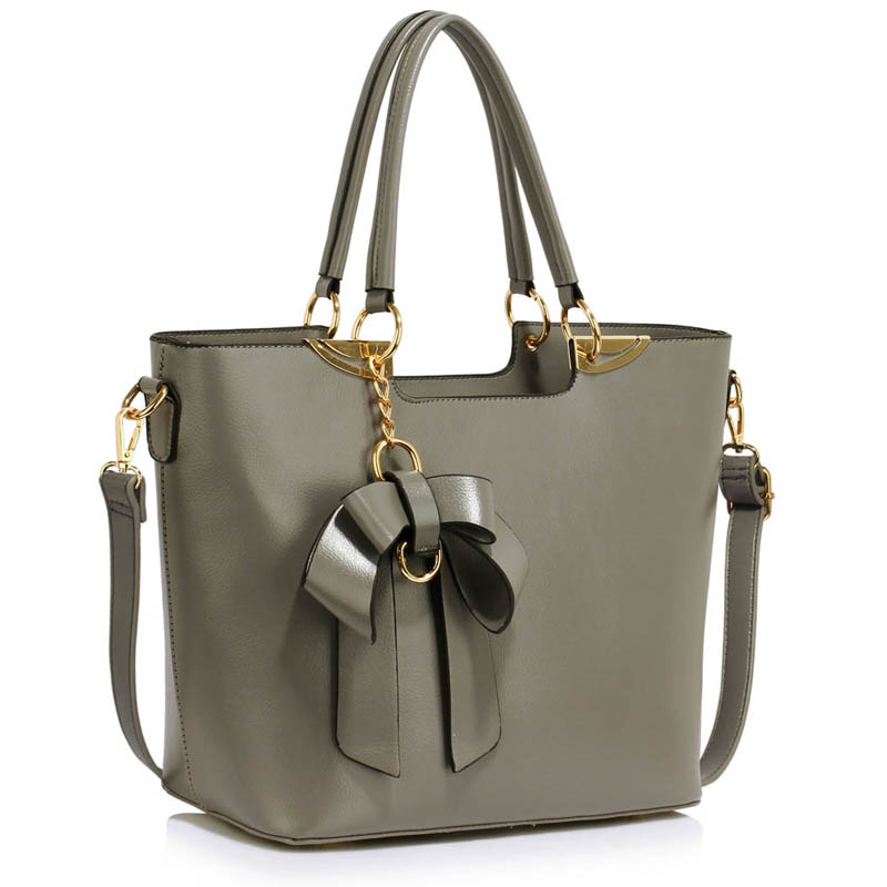 Grey Bow-Tie Shoulder Handbag