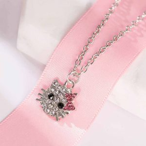 Kitty Necklace Silver Pink