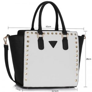 Black White Studs Decorated Tote Bag