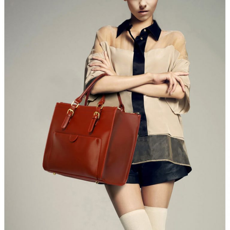Faux Leather Handbag Brown