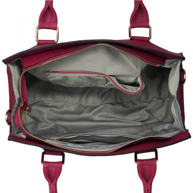 Faux Leather Handbag With Bag Charm
