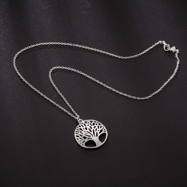 Tree Necklace Long Silver
