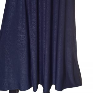 ZA03 Navy Blue Jersey Self Print Flared Maxi Abaya