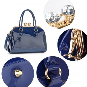 Navy Patent Satchel With Metal Frame