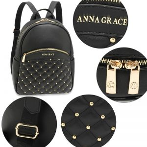 Black Quilt & Stud Backpack School Bag