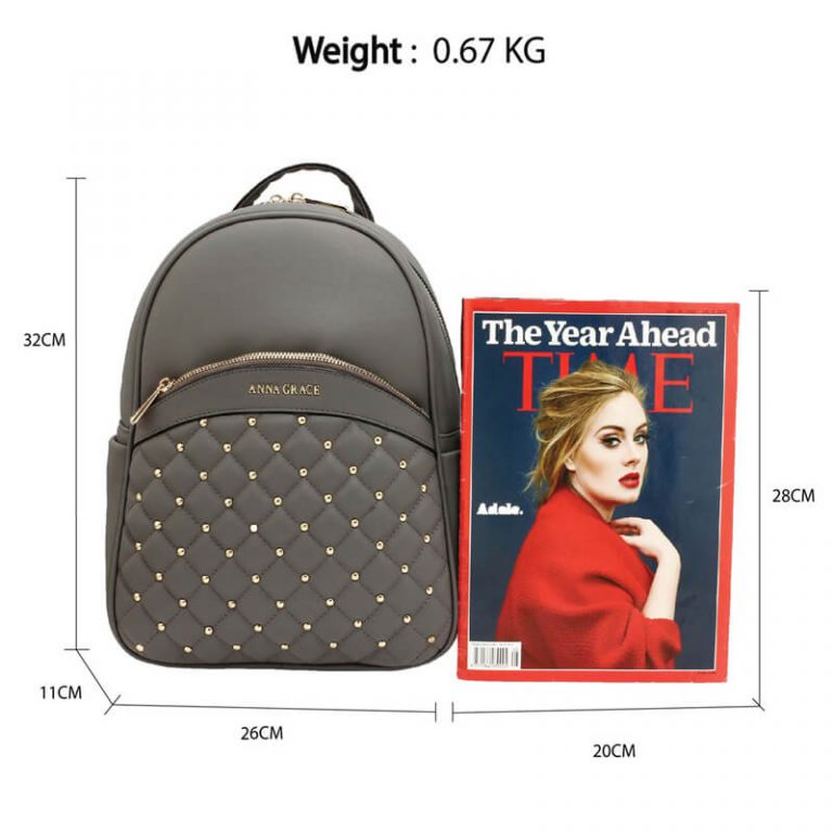 Grey Quilt & Stud Backpack School Bag