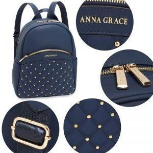Navy Quilt & Stud Backpack School Bag