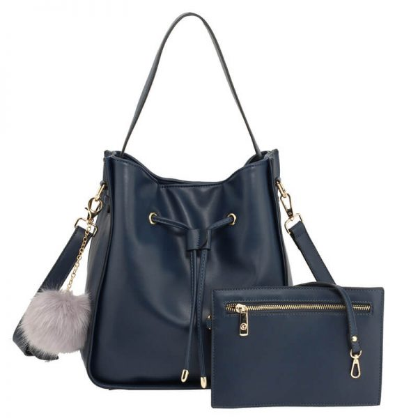 Navy Drawstring Tote Bag With Pouch
