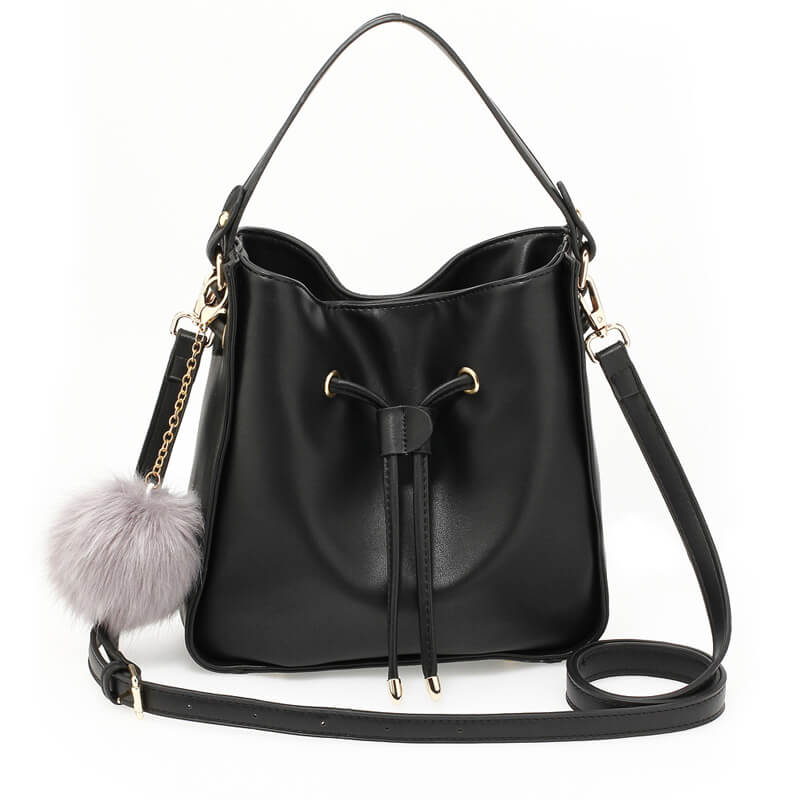 Black Drawstring Tote Bag With Faux-fur Bag Charm